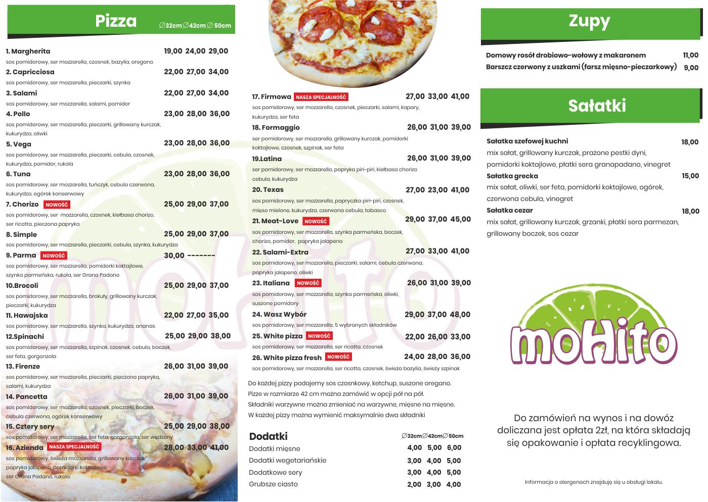 menu mohito pizza